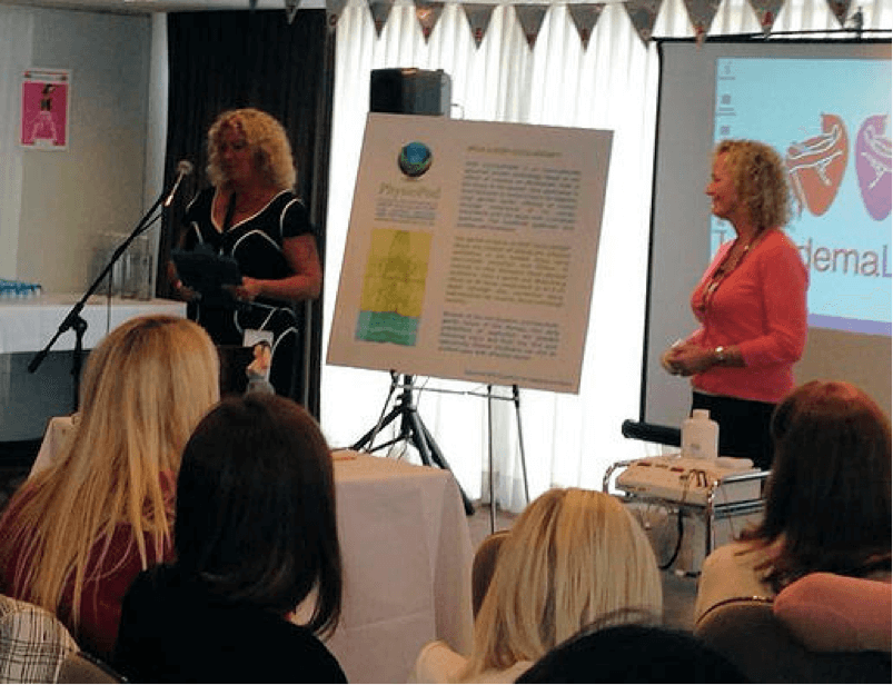 Mary and Julie at Lipoedema Ladies Conference presenting on the benefits of Deep Oscillation for Lipoedema to delegates 2013 in Leeds